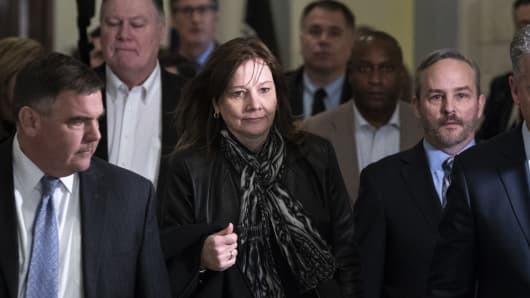 Mary Barra, chief executive officer of General Motors (GM), arrives for a meeting with Sen. Rob Portman (R-OH) and Sen. Sherrod Brown (D-OH) on Capitol Hill, December 5, 2018 in Washington, DC. GM is under fire for plans to cut around 8,000 salaried workers and 3,300 hourly workers in the United States.