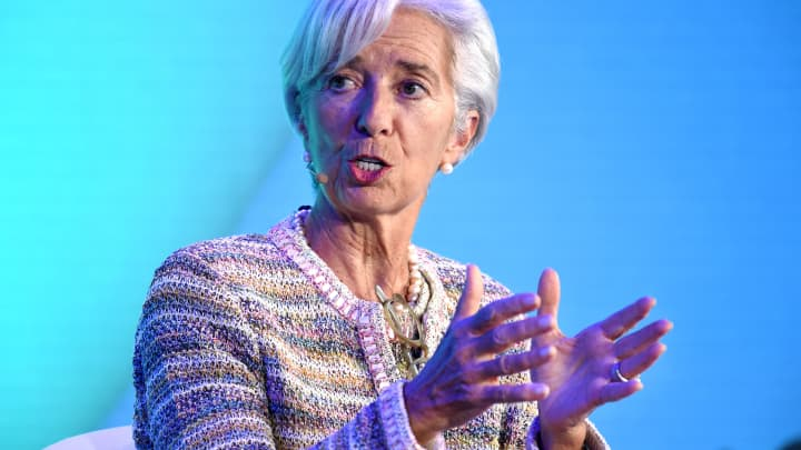 Managing Director of the International Monetary Fund Christine Lagarde speaks during the Bloomberg New Economy Forum in Singapore on November 7, 2018.