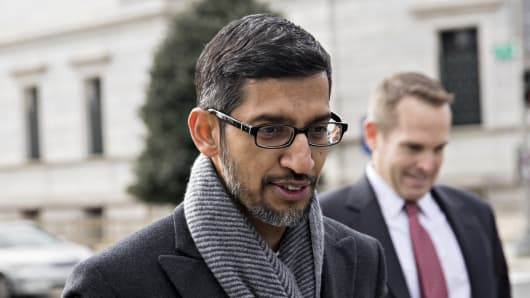 Sundar Pichai, chief executive officer of Google LLC, arrives to the White House for a meeting in Washington, D.C., U.S., on Thursday, Dec. 6, 2018.