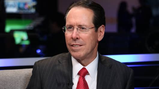 Randall Stephenson, AT & T Chief Executive, speaking at the Innovative Summit Business Center Headquarters in Washington, DC. on December 6, 2018.