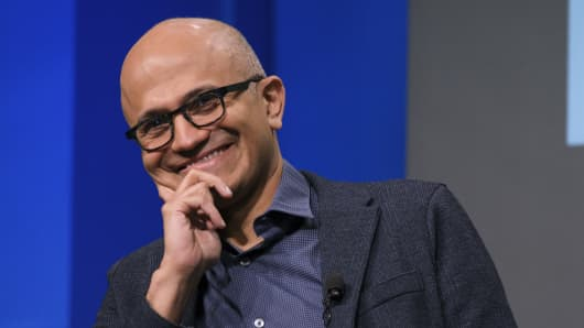Microsoft CEO Satya Nadella smiles during the question and answer portion of the Microsoft Annual Shareholders Meeting in Bellevue, Wash., on Nov. 28, 2018.