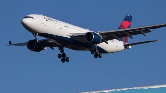 Delta Airlines Airbus A330-200 airplane landing at London's Heathrow Airport.