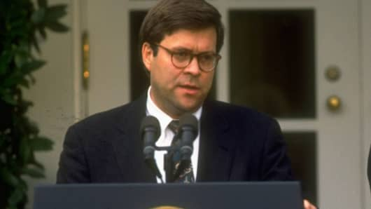 Dep. Atty. Gen. William Barr at WH portico ceremony announcing Dep.'s nomination to succeed Atty. Gen. Thornburgh.