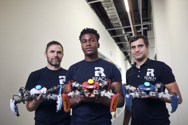 Reach Robotics co-founders (from L to R): John Rees, Silas Adekunle, and Chris Beck.