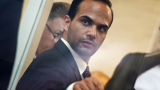 Foreign policy advisor to US President Donald Trump's election campaign, George Papadopoulos goes through security at the US District Court for his sentencing in Washington, DC on September 7, 2018.