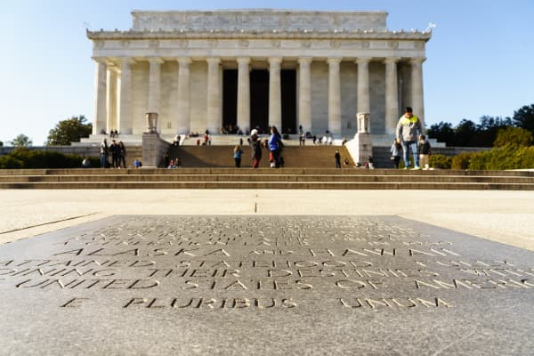 Outside the Lincoln Memorial