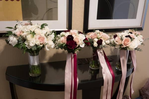 The floral arrangements