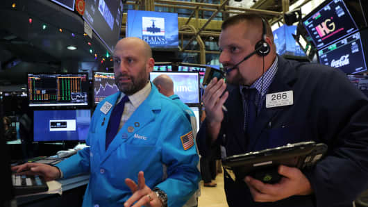 Traders work on the floor of the New York Stock Exchange (NYSE) on November 28, 2018 in New York City.