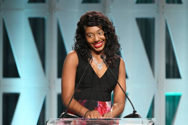 Kalis Coleman accepts The Black Panther Scholarship onstage during The Hollywood Reporter's Power 100 Women In Entertainment at Milk Studios on December 5, 2018 in Los Angeles, California.