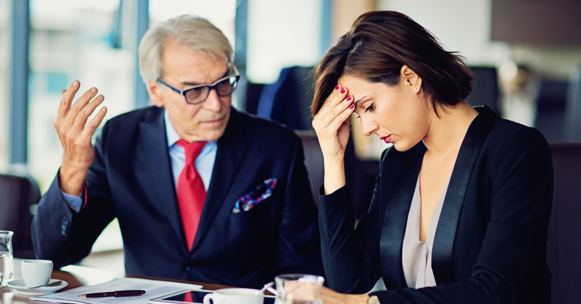 Businessman is insulting his secretary