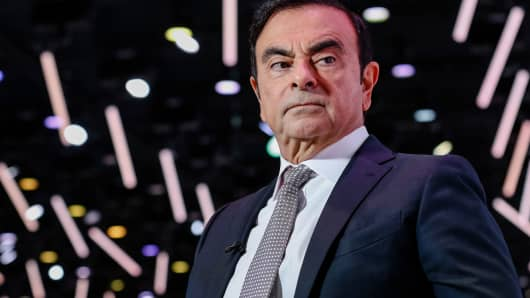 Carlos Ghosn, chairman of the alliance between Renault SA, Nissan Motor Co. and Mitsubishi Motors Corp., pauses during a Bloomberg Television interview at the Paris Motor Show in Paris, France, on Tuesday, Oct. 2, 2018.