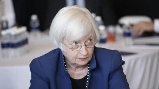 Janet Yellen, former chair of the U.S. Federal Reserve, attends the Bloomberg New Economy Forum in Singapore, on Tuesday, Nov. 6, 2018.
