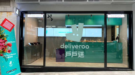 Outside of Deliveroo's restauarnt in Hong Kong.