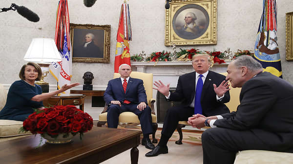 Trump debates with Nancy Pelosi and Chuck Schumer over a border wall