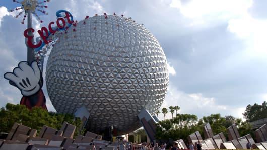 Guests leave Walt Disney World's Epcot near Orlando, Florida.