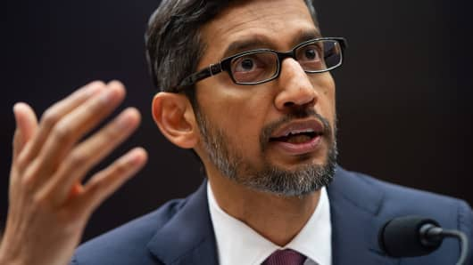Google CEO Sundar Pichai testifies during a House Judiciary Committee hearing on Capitol Hill in Washington, DC, December 11, 2018.