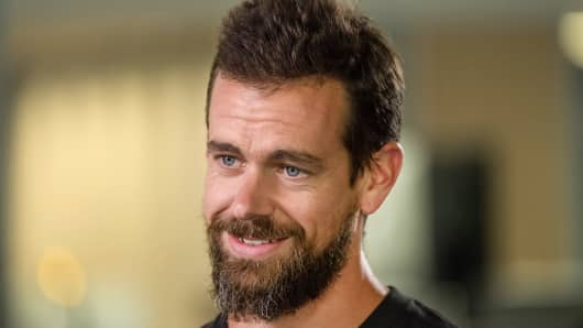 Jack Dorsey, chief executive officer and co-founder of Square Inc., speaks during a Bloomberg Television interview on Wednesday, Aug. 2, 2017.