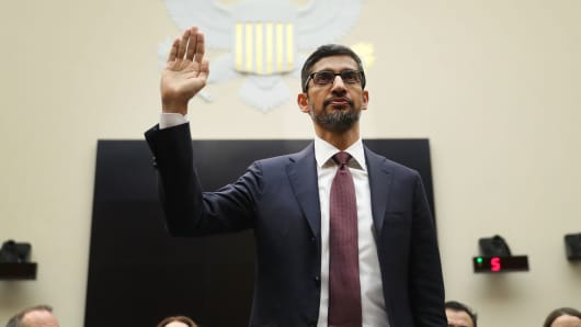 Sundar Pichai, chief executive officer of Google, is sworn in during a House Judiciary Committee hearing in Washington, D.C., U.S., on Tuesday, Dec. 11, 2018.