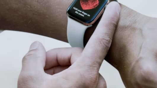 Apple Watch Series 4 at the Steve Jobs Theater during an event to announce new Apple products Wednesday, Sept. 12, 2018, in Cupertino, Calif.