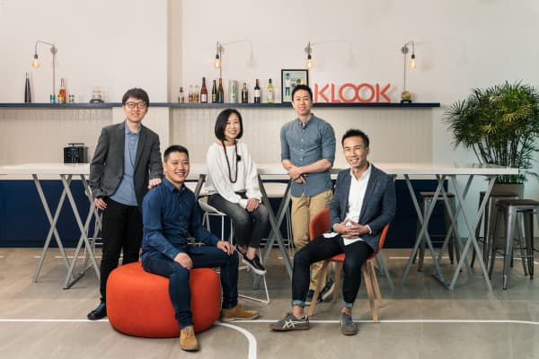 Klook's executive team featuring David Liu, chief product officer, Bernie Xiong, chief technology officer, Anita Ngai, chief revenue officer, Eric Gnock Fah, chief operating officer, and Ethan Lin, chief executive officer.