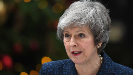 Prime Minister Theresa May makes a statement in Downing Street after it was announced that she will face a vote of no confidence, to take place tonight, on December 12, 2018 in London, England.