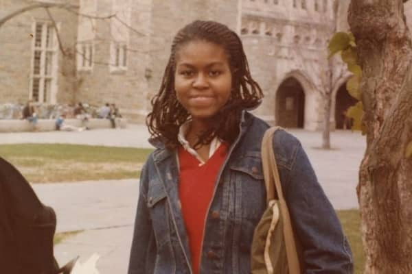 Michelle Obama on the campus of Princeton University in the 1980s.
