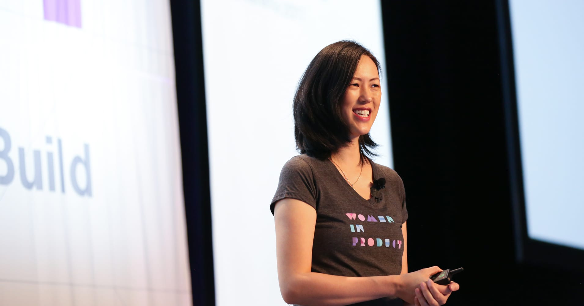 VP of Facebook Marketplace Deb Liu speaks at a Women in Product conference.