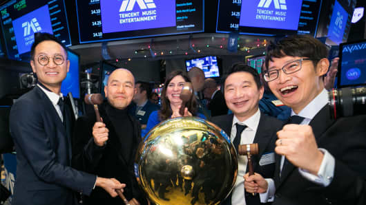 Tencent Music Entertainment Group (NYSE: TME) celebrates its initial public offering and first day of trading on the NYSE on Wednesday, Dec. 12. The deal was priced lower than initial expectations given the weaker overall market, but did rise in first-day trading. But it slipped below its $13 offering price by the close last Friday.