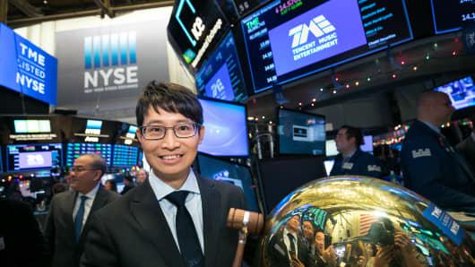 CEO Cussion Kar Shun Pang rings the opening bell at the NYSE.