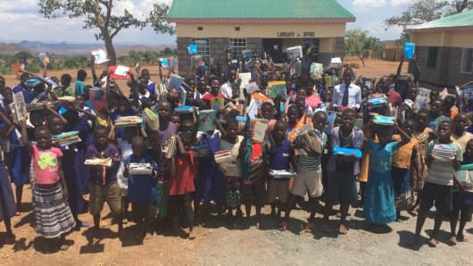 School in Malawi with books donated by Books4Cause