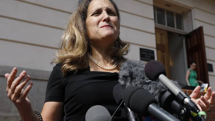 Chrystia Freeland, Canada's minister of foreign affairs, speaks to members of the media outside the U.S. Trade Representative office in Washington, D.C., U.S., on Wednesday, Sept. 19, 2018.