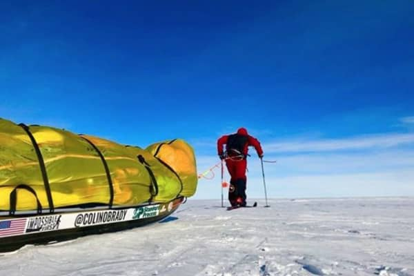 Colin O'Brady pulls his sleigh through the snow in the Antarctic.