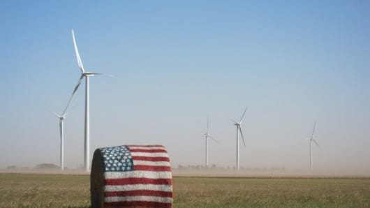 This image shows the Chisholm View wind farm in Oklahoma.