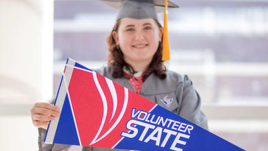 Emily Buckner at her Volunteer State Community College graduation