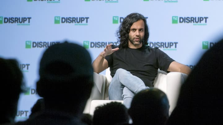 Baiju Bhatt, co-founder and co-chief executive officer of Robinhood Financial LLC, speaks during the TechCrunch Disrupt 2018 summit in San Francisco, California.
