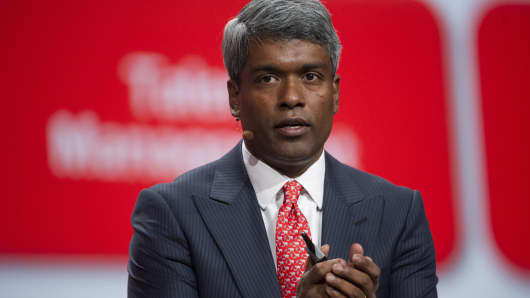 Thomas Kurian, the incoming head of Google Cloud and formerly president of product development at Oracle, speaks at the Oracle OpenWorld conference in San Francisco on Sept. 24, 2013.