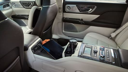 Inside the back seat of the 80th Anniversary Lincoln Continental Limited Edition.