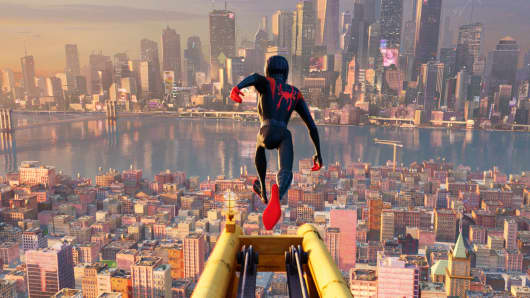 Miles Morales leaps from a building in 'Spider-Man: Into the Spider-Verse'
