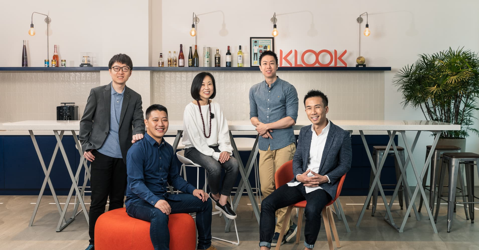 Klook's executive team featuring David Liu, Bernie Xiong, Anita Ngai, Eric Gnock Fah and Ethan Lin, chief executive officer.