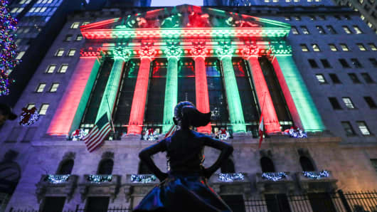 The 'Fearless Girl' statue stands at its new location in front of the New York Stock Exchange (NYSE) in New York, United States on December 14, 2018.