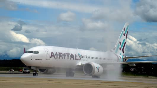 A view of the Boeing 737 Max plane of Air Italy during the unveiling of Air Italy's Boeing 737 Max at Malpensa airport on May 14, 2018 in Varese, Italy.