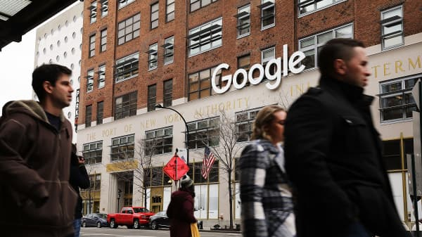 Google's New York bureau is shown in reduce Manhattan on Mar 5, 2018 in New York City. Published reports contend that a tech hulk is tighten to a reaching a $2.4 billion understanding to buy a landmark Chelsea Market building.