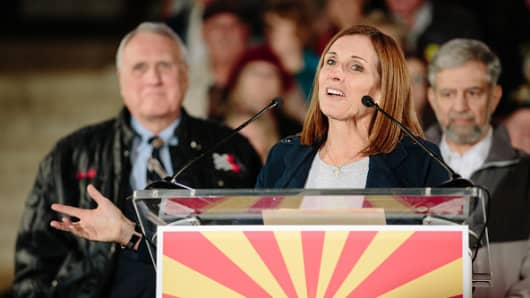 Martha McSally, Republican U.S. Senate candidate from Arizona, speaks during a campaign rally outside the Historic Yavapai County Courthouse in Prescott, Arizona, U.S., on Monday, Nov. 5, 2018. Surging turnout has both Republicans and Democrats proclaiming they stand to benefit, as polls show tight races up and down the ballot that will determine control of Congress, state houses and governors mansions nationwide. Photographer: Caitlin O'Hara/Bloomberg via Getty Images