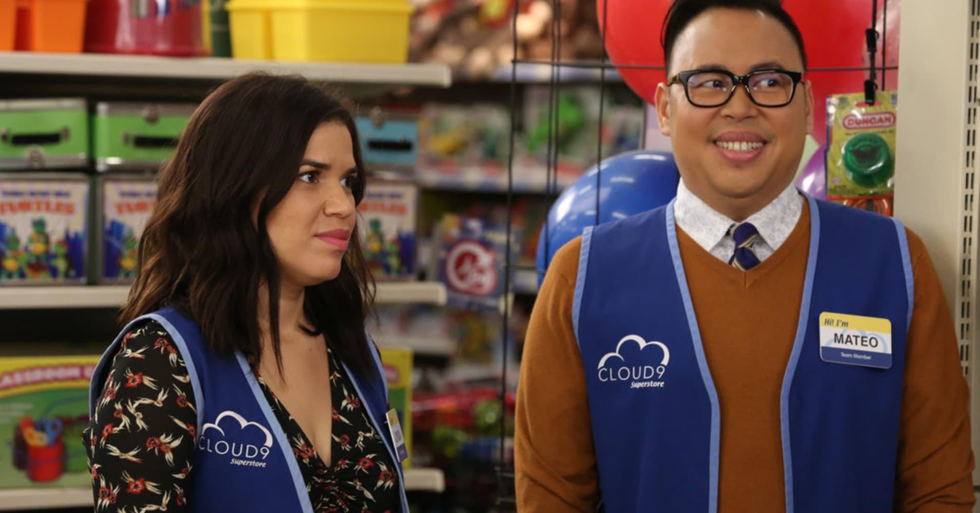 Actors America Ferrera and Nico Santos on NBC's Superstore.