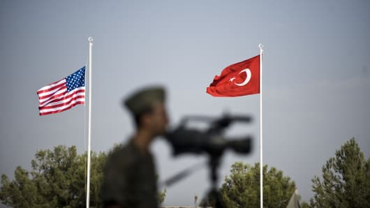Turkish and US flags are seen during a ceremony as their duty period finished on September 15, 2015 at the Patriot missiles deployment in Gaziantep, Turkey.