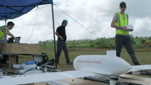 A Swoop Aero drone is prepared to deliver vaccines to a remote region in Vanuatu.