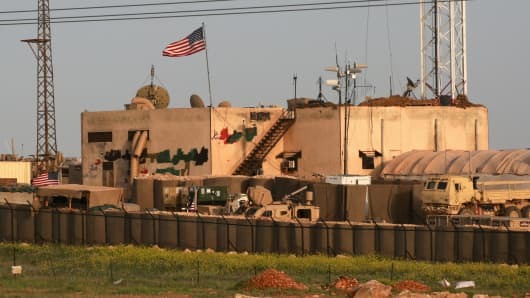 A picture taken on April 2, 2018 shows a general view of a US military base in the al-Asaliyah village, between the city of Aleppo and the northern town of Manbij.