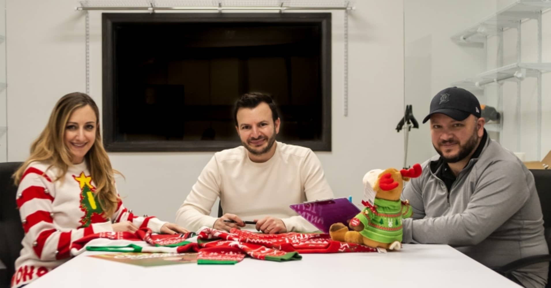 Siblings Fred, Mark and Vanessa Hajjar are co-founders of UglyChristmasSweater.com