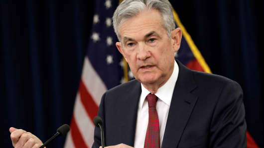 Federal Reserve Board Chairman Jerome Powell speaks during his news conference after a Federal Open Market Committee meeting in Washington, December 19, 2018.