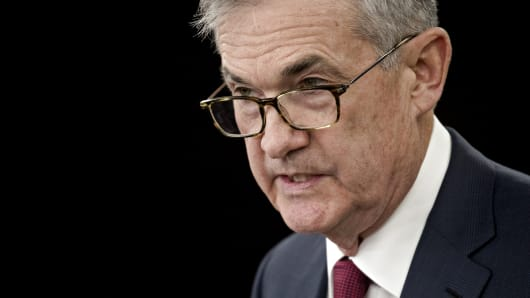 Jerome Powell, chairman of the U.S. Federal Reserve, speaks during a news conference following a Federal Open Market Committee (FOMC) meeting in Washington, D.C., U.S., on Wednesday, Dec. 19, 2018.